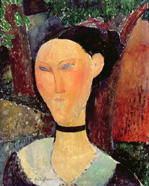 Oil Well Painting - Woman With A Velvet Neckband by Amedeo Modigliani