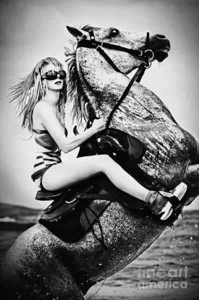 Photograph - Woman With A White Horse by Dimitar Hristov