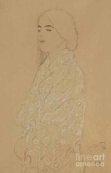 Attractive Drawing - Woman With A White Shawl  by Gustav Klimt