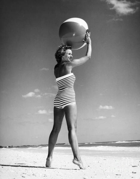 Photograph - Woman With Beach Ball, C.1960s by H Armstrong Roberts and ClassicStock