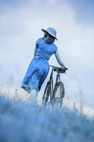 Photograph - Woman With Bicycle In Field by Maggie McCall
