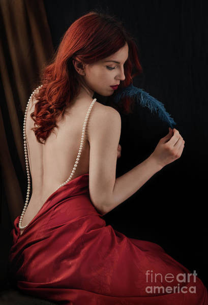 Redhead Photograph - Woman With Blue Feather by Jelena Jovanovic