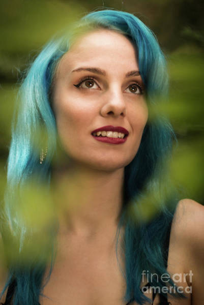 Wall Art - Photograph - Woman With Blue Hair by Amanda Elwell