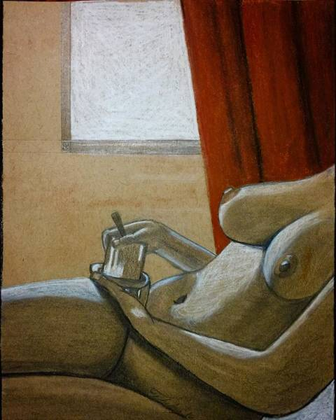 Painting - Woman With Coffee by Thelma Delgado