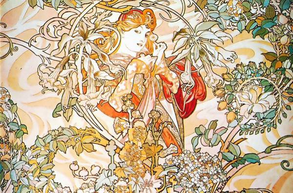 Painting - Woman With Daisy by Alphonse Mucha