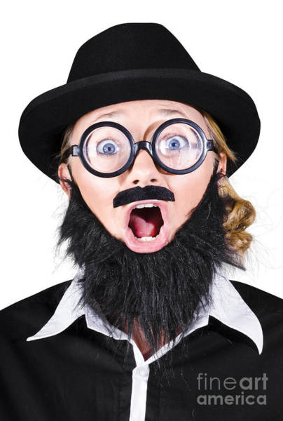 Afraid Photograph - Woman With Fake Beard And Mustache Screaming by Jorgo Photography - Wall Art Gallery