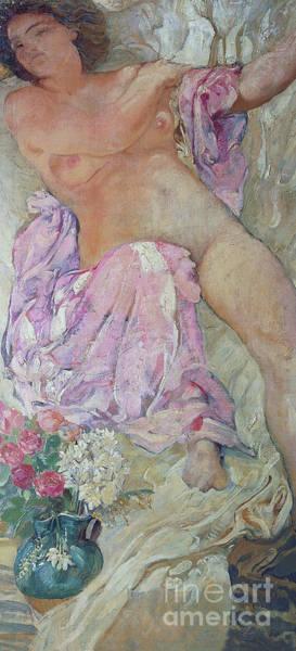 Intimate Portrait Wall Art - Painting - Woman With Flowers by Adolfo De Carolis