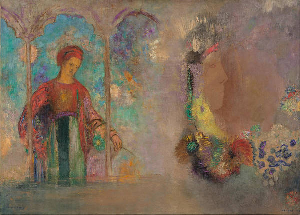 Painting - Woman With Flowers by Odilon Redon