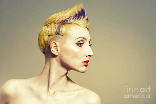 Wall Art - Photograph - Woman With Funky Hairstyle by Amanda Elwell
