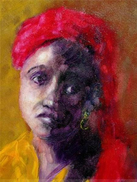 Wall Art - Painting - Woman With Gold Ear Ring by Michael L Brown