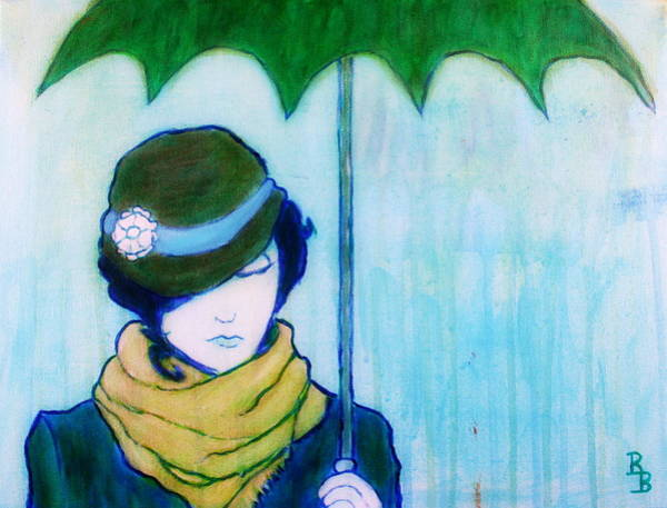 Painting - Woman With Green Umbrella by Bob Baker