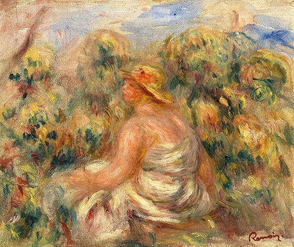 Rural Life Wall Art - Painting - Woman With Hat In A Landscape by Pierre-Auguste Renoir