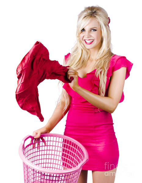 Dirty Laundry Photograph - Woman With Laundry Basket by Jorgo Photography - Wall Art Gallery