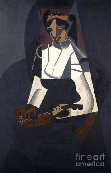 Spanish Guitar Wall Art - Painting - Woman With Mandolin by Juan Gris
