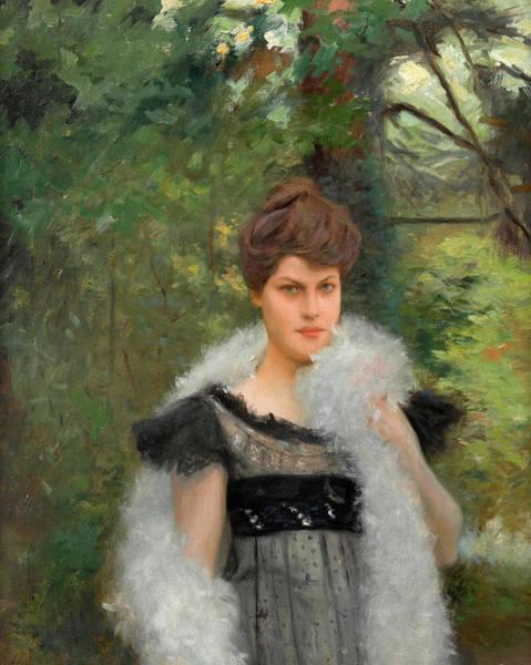 Boa Painting - Woman With Mara Bou Boa by Julius LeBlanc Stewart