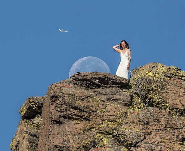 Photograph - Woman With Moon And Jet by Martin Gollery