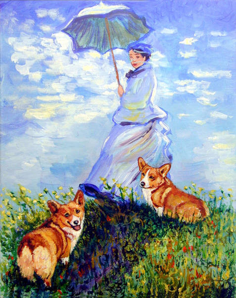 Wall Art - Painting - Woman With Parasol And Corgis After Monet by Lyn Cook