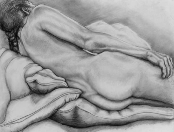 Drawing - Woman With Pillows by John Clum