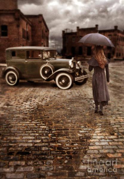 Wall Art - Photograph - Woman With Umbrella By Vintage Car by Jill Battaglia
