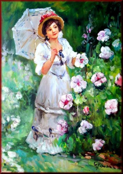 Poppie Painting - Woman With Umbrella by Giovanni Desimone