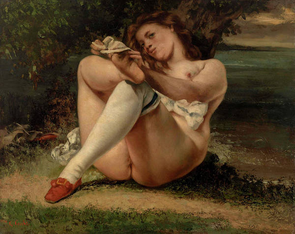 Wall Art - Painting - Woman With White Stockings by Gustave Courbet