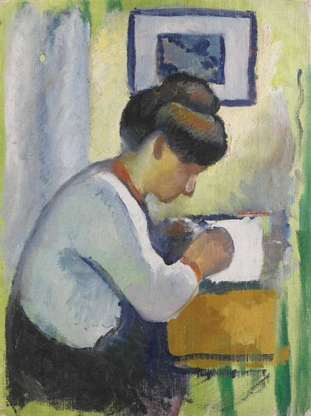 Painting - Woman Writing By August Macke by Artistic Panda
