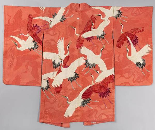 Wall Art - Painting - Woman's Haori With White And Red Cranes by Celestial Images