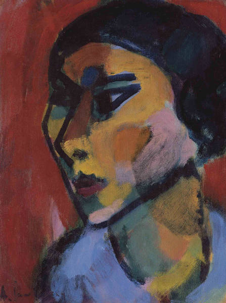 Painting - Woman's Head In Three-quarters Profile by Alexej von Jawlensky