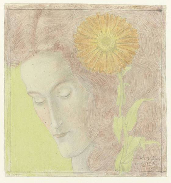 Painting - Woman's Head With Reddish Hair And Chrysanthemum, Jan Toorop, 1896 by Artistic Panda