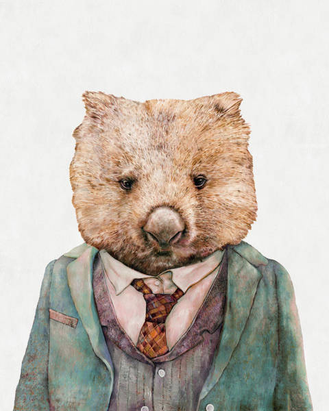 Animals In Clothes Wall Art - Painting - Wombat by Animal Crew