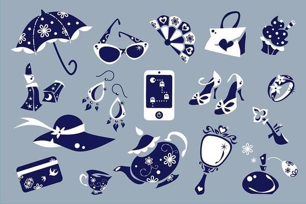 Wall Art - Digital Art - Women Accessories - Shoes Shopping Bag - Vector Icons by Arte Venezia
