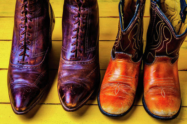 Wall Art - Photograph - Women And Childrens Boots by Garry Gay