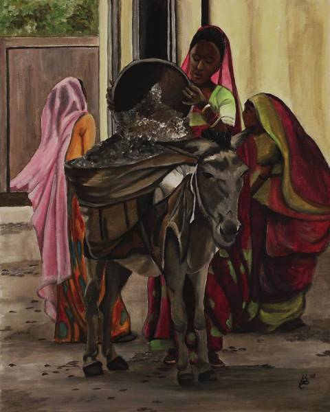 Wall Art - Painting - Women And Donkey At Work by Kim Selig