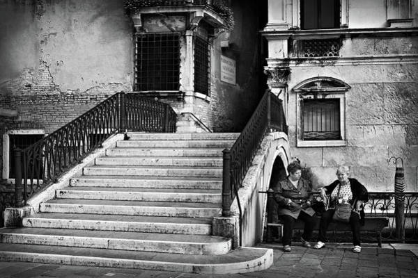 Photograph - Women By A Bridge In Venice by Barry O Carroll