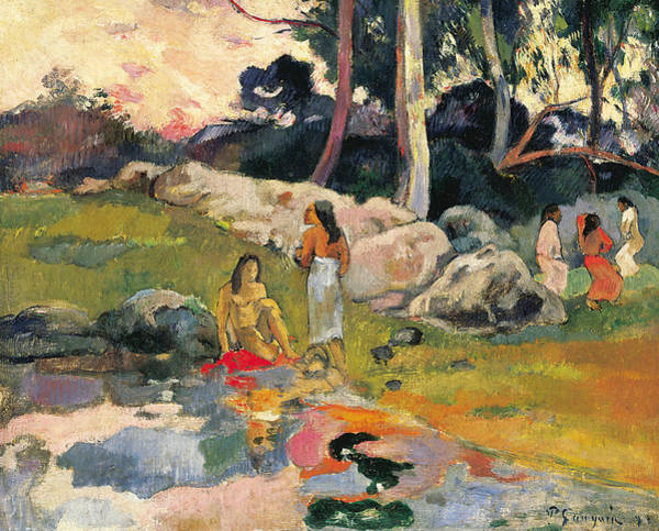 Wall Art - Painting - Women By The Riverside by Paul Gauguin
