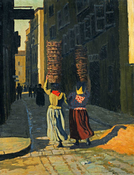 Narrow Street Painting - Women Carrying Baskets In Marseille by Felix Vallotton