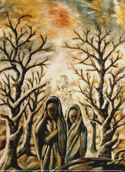 Recycling Painting - Women In Harmattan by Mbonu Emerem