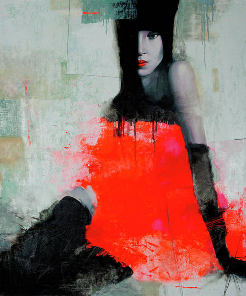 Wall Art - Painting - Woman In Red by Viktor Sheleg