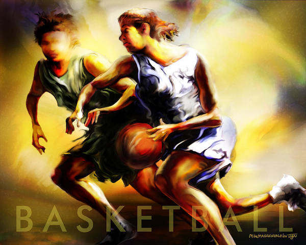 Olympic Sports Painting - Women In Sports - Basketball by Mike Massengale