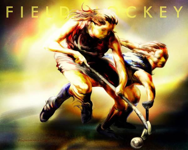 Hockey Painting - Women In Sports - Field Hockey by Mike Massengale