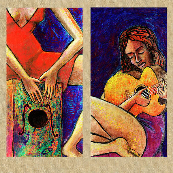 Wall Art - Painting - Women In Their Song by Miko At The Love Art Shop
