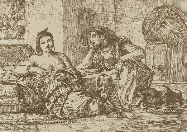 Relief - Women Of Algiers by Eugene Delacroix