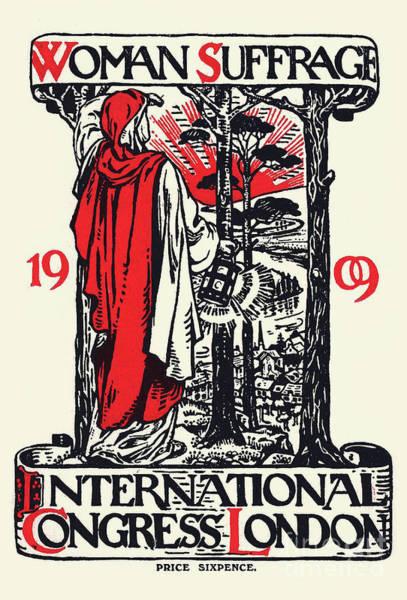 Vote Wall Art - Drawing - Women Suffrage International Congress London, 1909 by English School