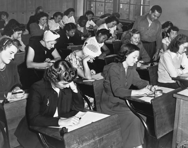 Classroom Photograph - Women Taking Police Exam by Dick De Marsico