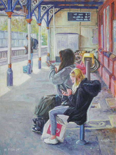 Painting - Women Texting On Christchurch Station by Martin Davey