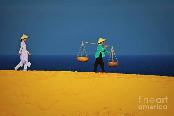 Photograph - Women Walking Along The Red Sand Dunes Of Mui Ne In Vietnam, Southeast Asia by Sam Antonio Photography