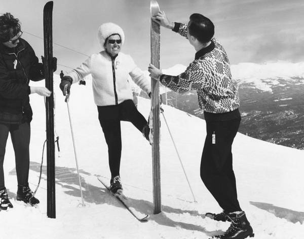 Snow Ski Wall Art - Photograph - Women Waxing Skis by Underwood Archives