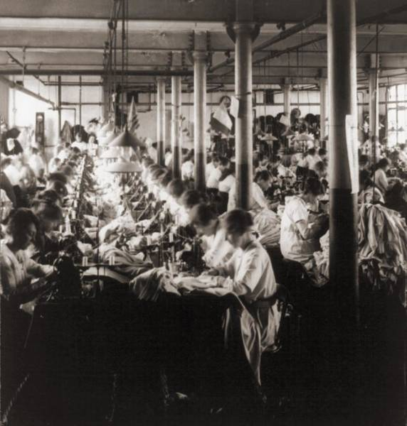 Textile Mill Photograph - Women Working At Sewing Machines by Everett
