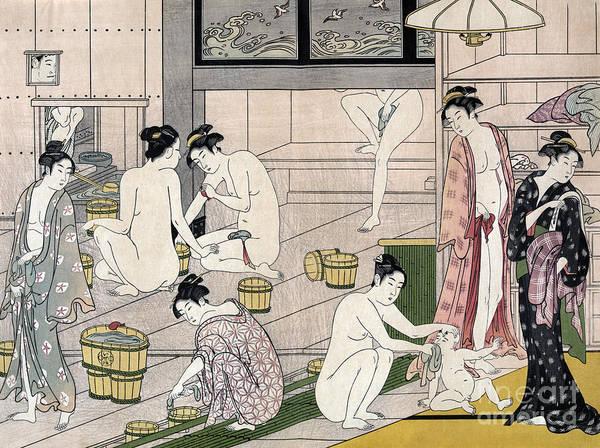Print Drawing - Women's Bathhouse by Torii Kiyonaga