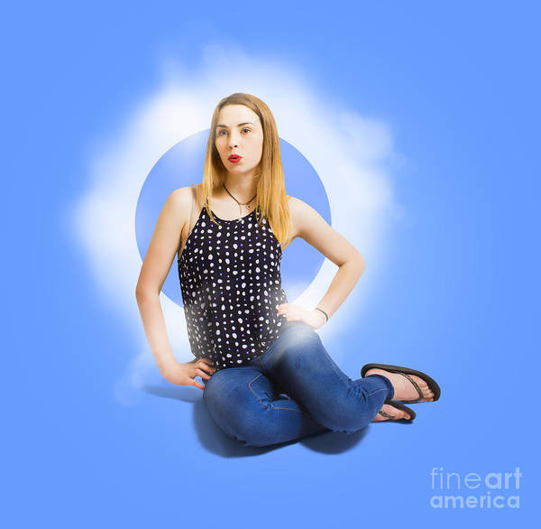 Photograph - Womens Fashion Pinup Model On Blue Studio Lights by Jorgo Photography - Wall Art Gallery